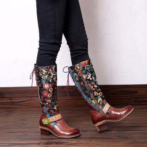 Woodlands Floral Embroidered Womens Leather Boots