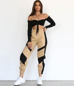 Women Street High Waist Cargo Pants Sets