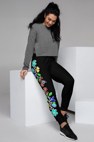 Women's Black Woodlands Floral Joggers
