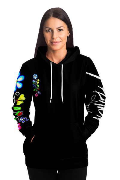 Women's Black Woodlands Florals Hoodie