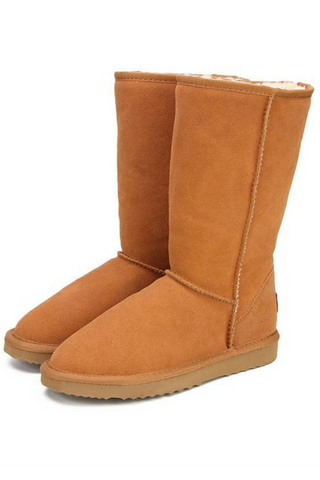 Women's Classic Tall Mid-Calf Leather Winter Snow Boots