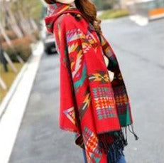 Women's Native Style Cashmere Hooded Shawl