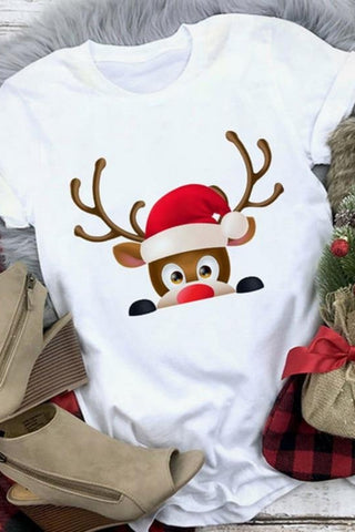 Women's Reindeer Santa Clause T-Shirt-1a