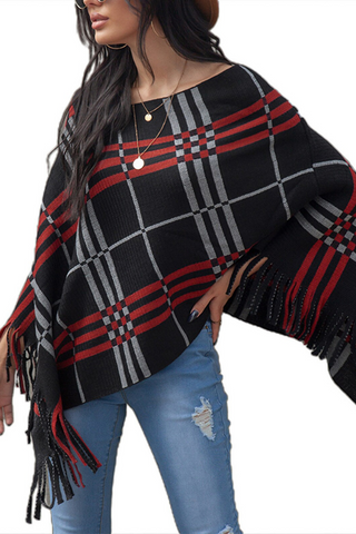 Women's Warm Black and Red Plaid Wool Cashmere Shawl-2
