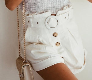 Women's White Fashion Shorts