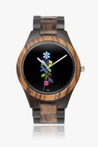 Woodlands Florals Black Wooden Watch