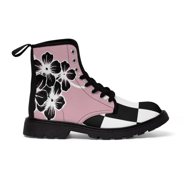 Women's Fashion Pink and Black Buffalo Check Plaid Flower Ayasha Martin Boots