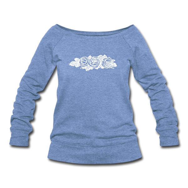 Rose Flowers Women's Wideneck Sweatshirt - heather Blue