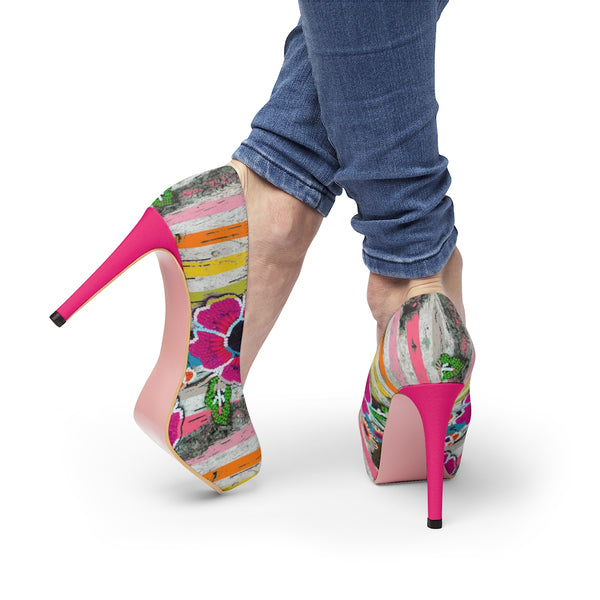 Striped Floral Ayasha Women's Platform Heels - https://www.ayashaloyadesigns.com/collections/indigenous-woodlands-collection-of-shoes
