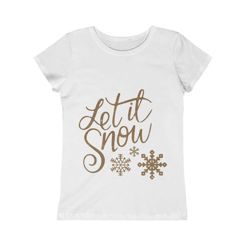 Let it Snow Snowflakes Christmas Girls Princess Tee
