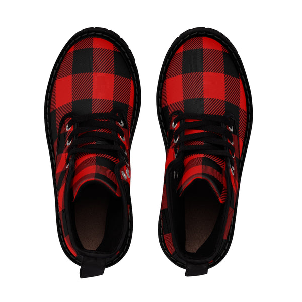 Red and Black Buffalo Check Plaid Women's Martin Boots
