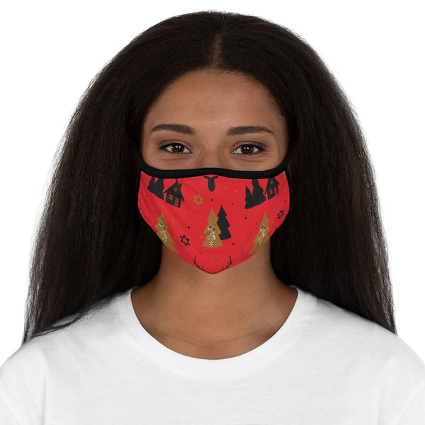 Christmas Reindeer and Christmas Trees Red Fitted Polyester Face Mask