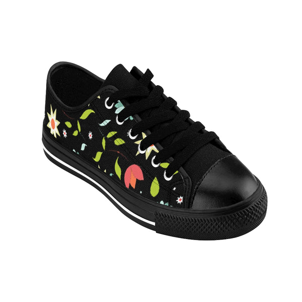 Woodlands Floral Motif Black Women's Sneakers - https://www.ayashaloyadesigns.com/products/woodlands-floral-motif-black-womens-sneakers
