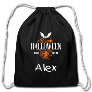 Custom Halloween Trick or Treat Black Drawstring Bag - black