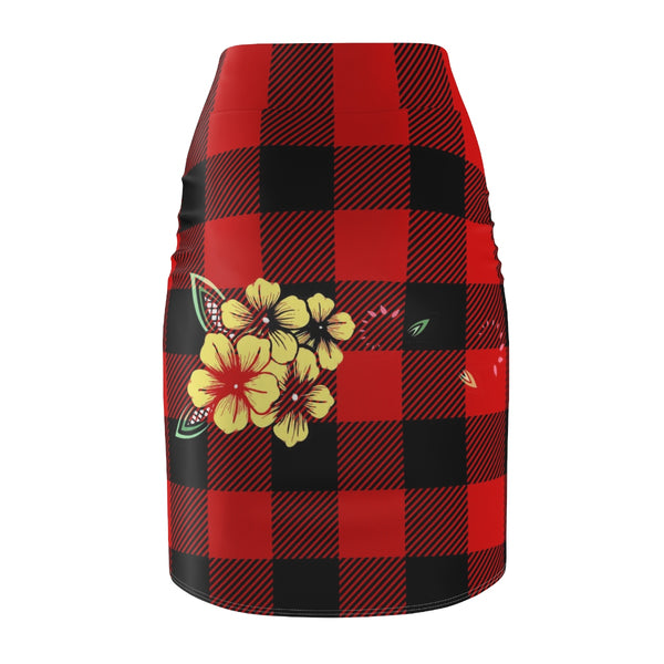 Red and Black Checkered Plaid Indigenous Floral Women's Pencil Skirt