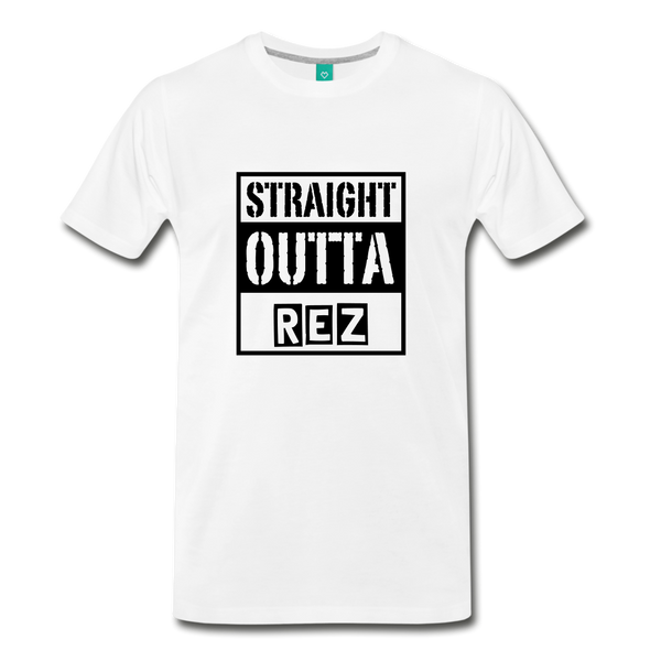 Straight Outta REZ Men's Premium T-Shirt - white