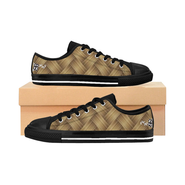 Tan and Black Woven Flower Women's Sneakers - www.ayashaloyadesigns.com