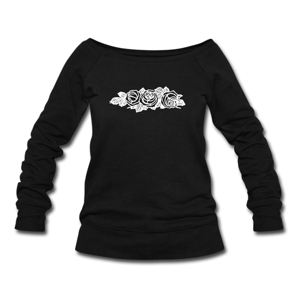 Rose Flowers Women's Wideneck Sweatshirt - black