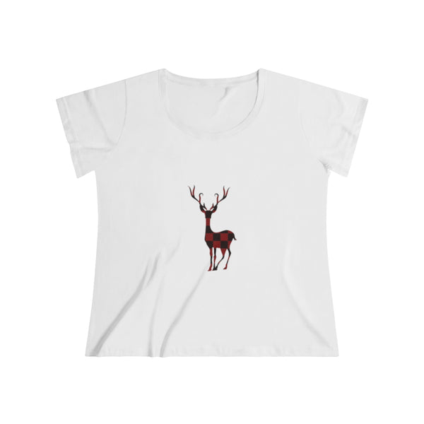 Red and Black Buffalo Check Plaid Deer Plus Size Women's Curvy Tee