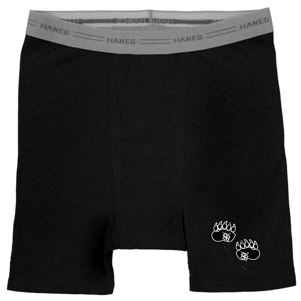 Fashion Ayasha Bear Paws Logo Hanes Black Boxer Brief Underwear