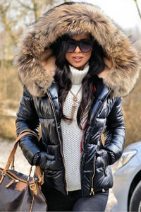 Stylish Woman Fur Hooded Long Sleeve Thick Full-Zip Hooded Puffer Coat-1
