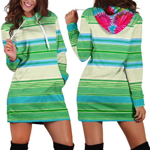 Tie Dye Hearts and Stripes by Fashion Ayasha Women's Hoodie Dress