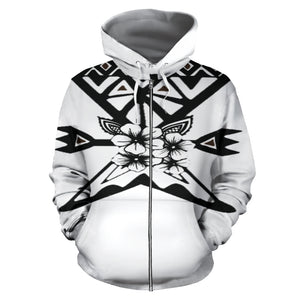 Fashion Ayasha Thunderbird Brand Logo All Over Zip-Up Hoodie