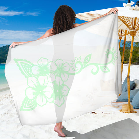 White Mint Green Ayasha Flower Logo Beach Sarong