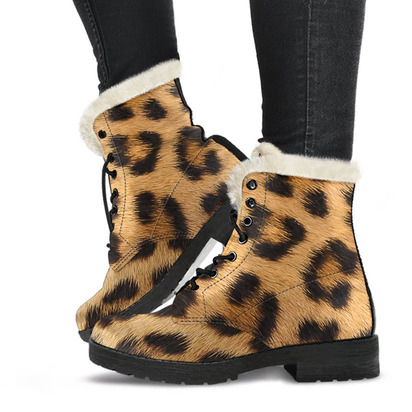 Leopard Fur Print Faux Fur Leather Boots