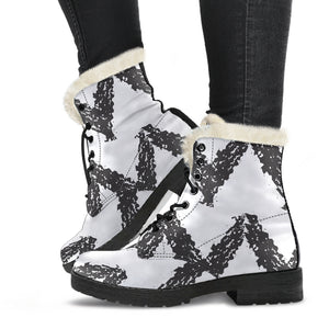 Simple Chevron Faux Fur Leather Boots