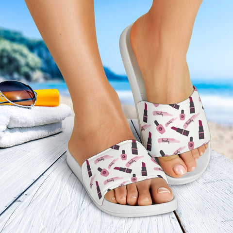 Lipstick and Nail Polish Slide Sandals