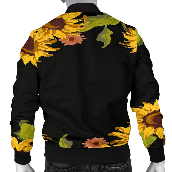 Sunflower Patch Men's Black Bomber Jacket