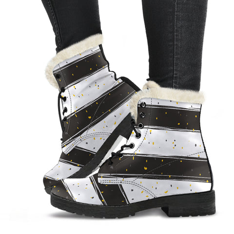 White and Black Stripes with Gold Flakes Faux Fur Leather Boots