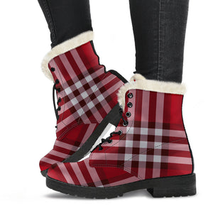 Tartan Plaid Faux Fur Leather Boots