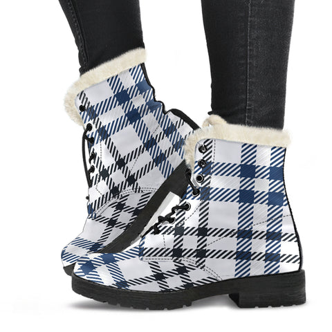 White and Blue Tartan Plaid Faux Fur Boots