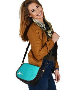 Turquoise Ayasha Leather/Canvas Handbag