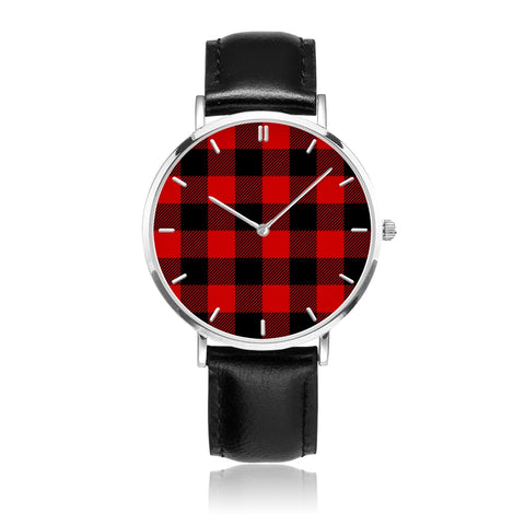 Buffalo Check Red and Black Plaid 30 Meters Waterproof Quartz Fashion Ayasha Watch With Black Genuine Leather Band