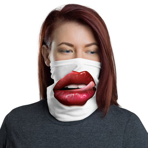 Licking Lips Neck White Face Cover Face Mask