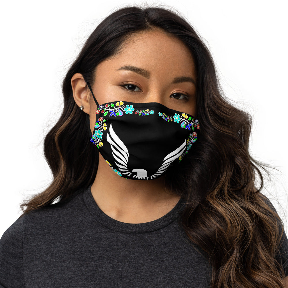 Native American Ojibwe Floral Eagle Black Premium face mask