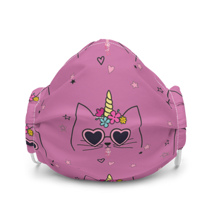Cute Caticorn Kids Dark Pink Premium Face Mask