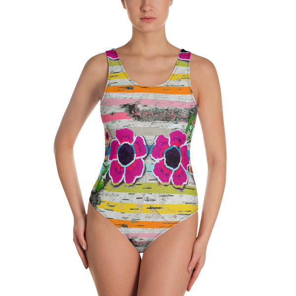 Striped Flowers One-Piece Swimsuit - https://www.ayashaloyadesigns.com/products/one-piece-swimsuit