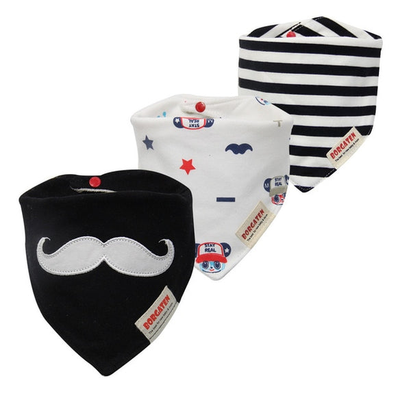 striped black and white baby burp cloth set