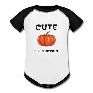 Cute Little Halloween Pumpkin Baby Bodysuit - white/black