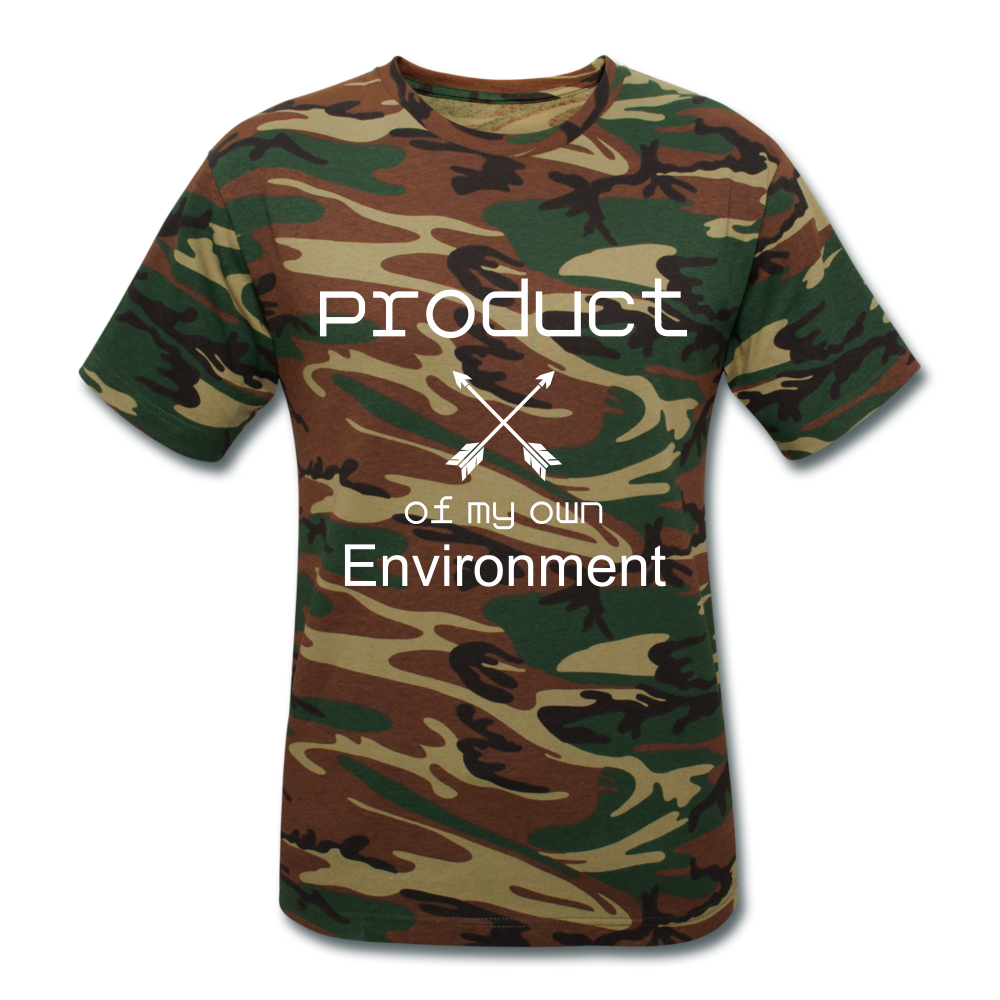 Product of My Own Environment Unisex Camouflage T-Shirt - green camouflage