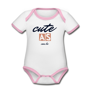 Cute as Can Be Organic Contrast Short Sleeve Baby Bodysuit - white/pink