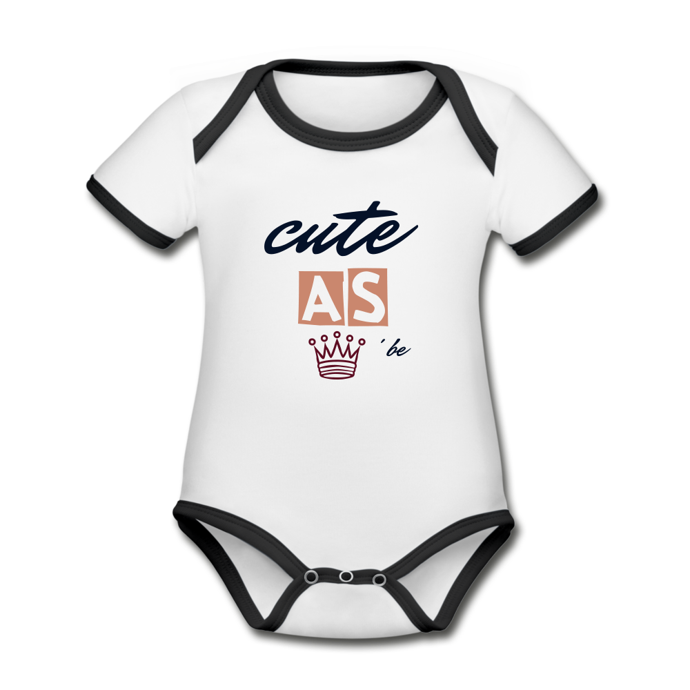 Cute as Can Queen Be Organic Contrast Short Sleeve Baby Bodysuit - white/black
