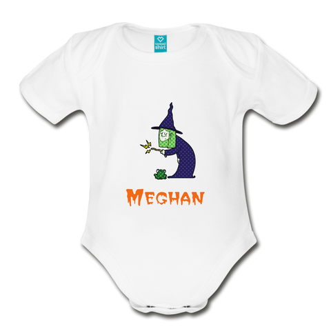 Halloween Witch and Frog Baby Bodysuit - white