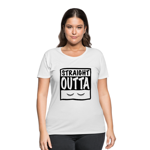 Straight Outta Eyelashes Plus Size Women's Curvy T-Shirt - white
