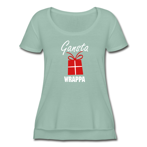 Women's Festival Scoop Neck Christmas T-Shirt - stonewash green