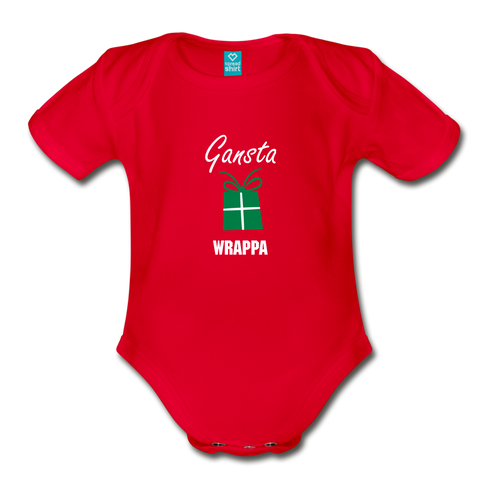 Gangsta Wrappa Christmas Baby Bodysuit - red
